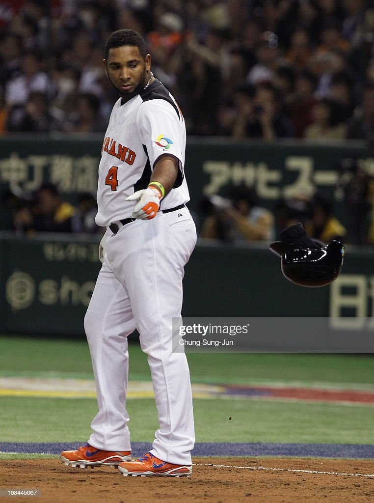 Wladimir Balentien # 4 of Netherlands reacts after striking out in the fourth inning during the World Baseball Classic Second Round Pool 1 game between Japan and the Netherlands at Tokyo Dome on March 10, 2013 in Tokyo, Japan.