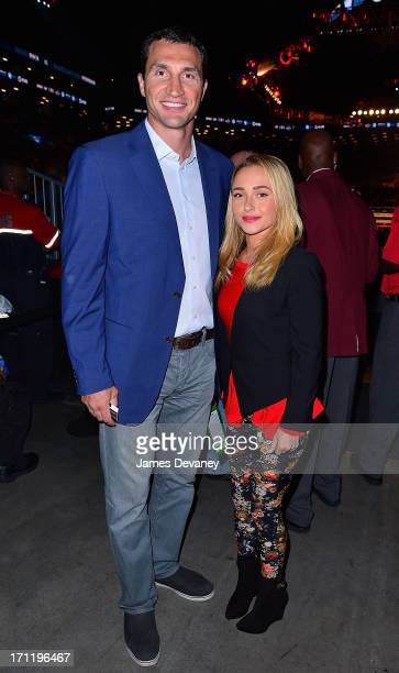 Wladimir Klitschko and Hayden Panettiere attend Paulie Malignaggi vs Adrien Broner boxing match at Barclays Center on June 22 2013 in the Brooklyn...