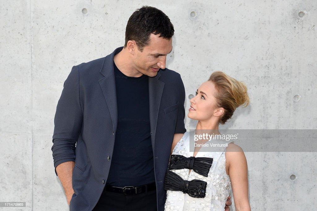<a gi-track='captionPersonalityLinkClicked' href=/galleries/search?phrase=Wladimir+Klitschko&family=editorial&specificpeople=210650 ng-click='$event.stopPropagation()'>Wladimir Klitschko</a> and <a gi-track='captionPersonalityLinkClicked' href=/galleries/search?phrase=Hayden+Panettiere&family=editorial&specificpeople=204227 ng-click='$event.stopPropagation()'>Hayden Panettiere</a> attend the Giorgio Armani show during Milan Menswear Fashion Week Spring Summer 2014 on June 25, 2013 in Milan, Italy.