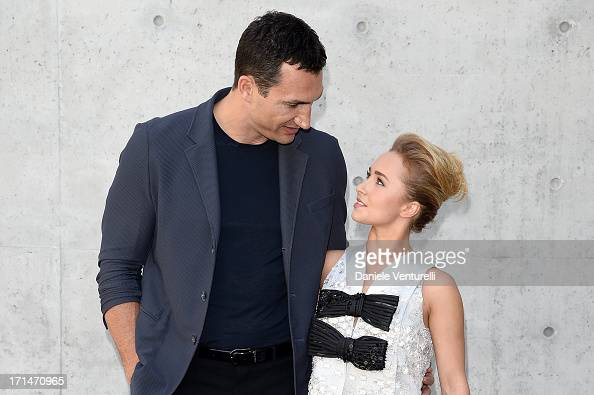 Wladimir Klitschko and Hayden Panettiere attend the Giorgio Armani show during Milan Menswear Fashion Week Spring Summer 2014 on June 25 2013 in...