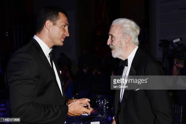 Wladimir Klitschko and Sir Christopher Lee attend the Sports For Peace Fundraising Ball at The VA on July 25 2012 in London England