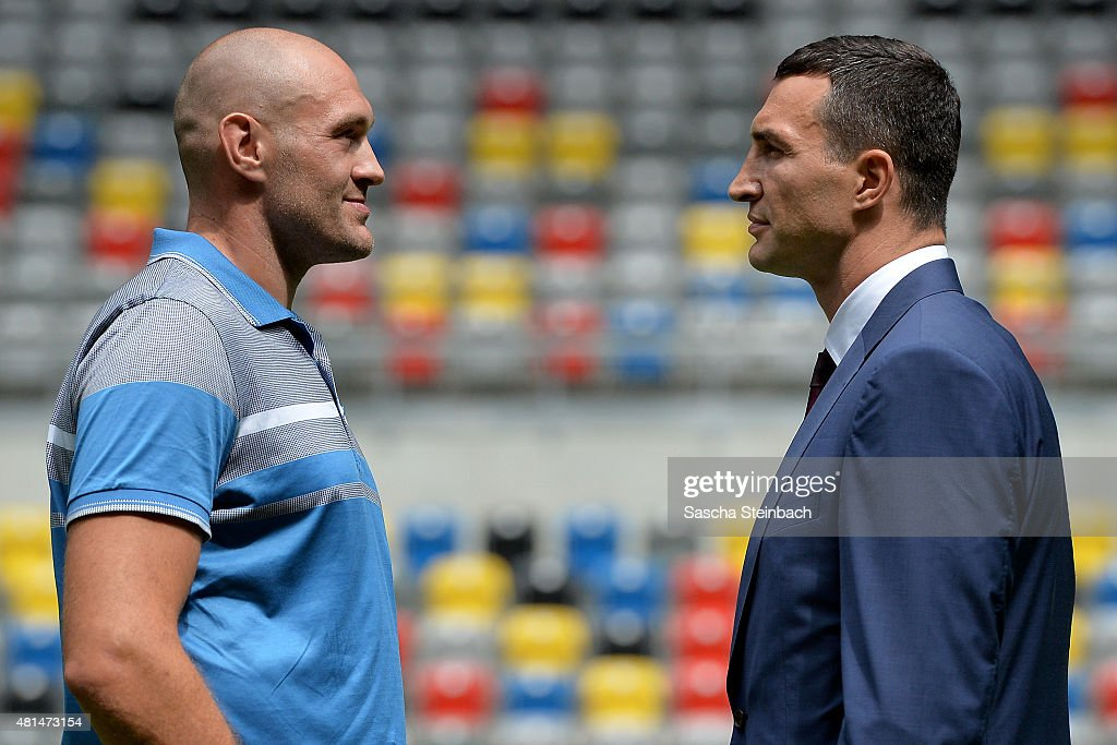 <a gi-track='captionPersonalityLinkClicked' href=/galleries/search?phrase=Wladimir+Klitschko&family=editorial&specificpeople=210650 ng-click='$event.stopPropagation()'>Wladimir Klitschko</a> (R) and <a gi-track='captionPersonalityLinkClicked' href=/galleries/search?phrase=Tyson+Fury&family=editorial&specificpeople=5739191 ng-click='$event.stopPropagation()'>Tyson Fury</a> (L) face each other after a press conference at Esprit-Arena on July 21, 2015 in Duesseldorf, Germany.