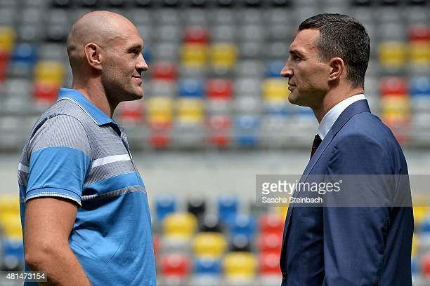 Wladimir Klitschko and Tyson Fury face each other after a press conference at EspritArena on July 21 2015 in Duesseldorf Germany