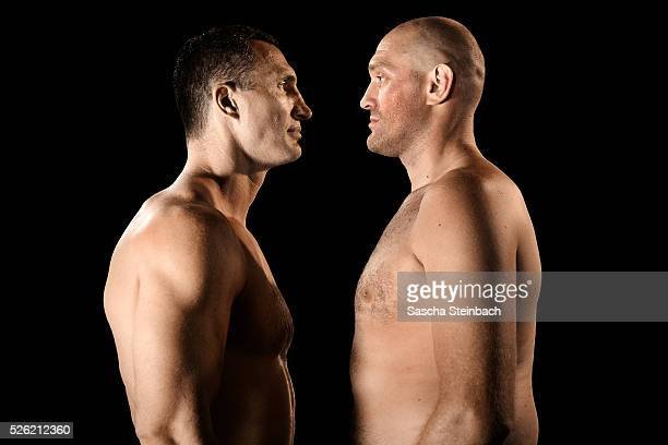 Wladimir Klitschko and Tyson Fury face each other at EspritArena on July 21 2015 in Duesseldorf Germany Fury v Klitschko Part 2 will take place in...