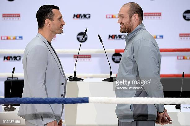 Wladimir Klitschko and Tyson Fury face each other during their head to head press conference on April 28 2016 in Cologne Germany Fury v Klitschko...