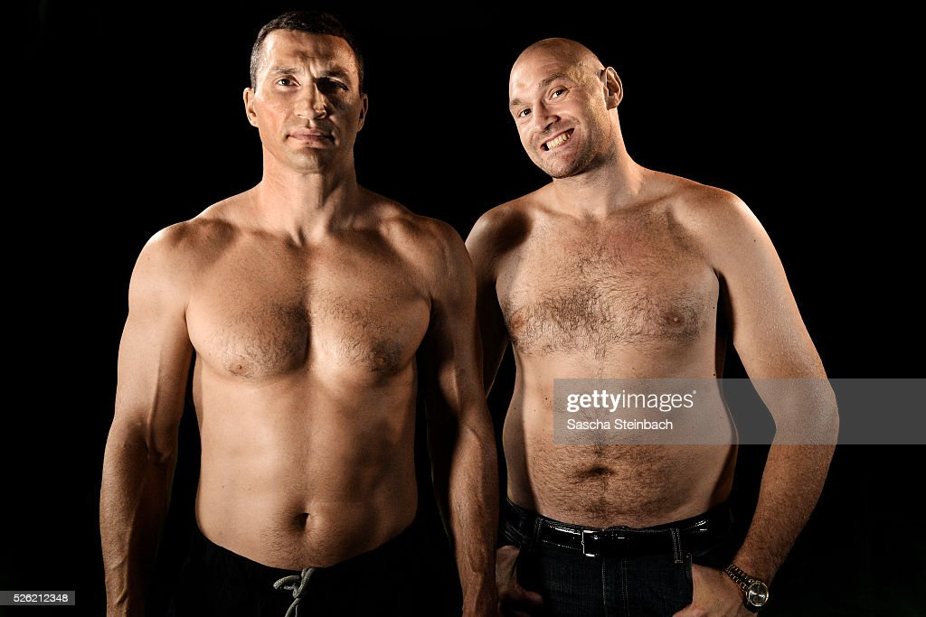 Wladimir Klitschko and Tyson Fury pose at Esprit-Arena on July 21, 2015 in Duesseldorf, Germany. Fury v Klitschko Part 2 will take place in Manchester on July 9 for the WBO, WBA and IBO heavyweight belts.