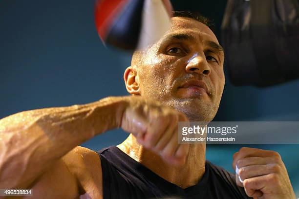 Wladimir Klitschko at the punchball during a training session at Hotel Stanglwirt on November 10 2015 in Going Austria The Heavyweight title clash...