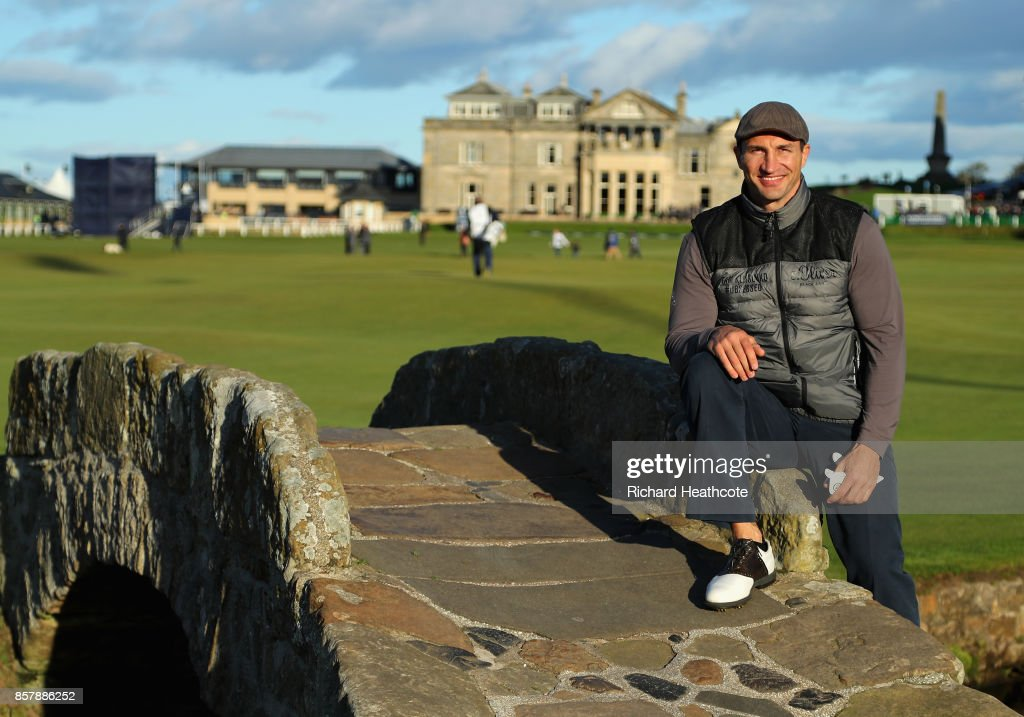 Wladimir Klitschko, former boxer poses for a photo on the Swilken Bridge during day one of the 2017 Alfred Dunhill Championship at The Old Course on October 5, 2017 in St Andrews, Scotland.