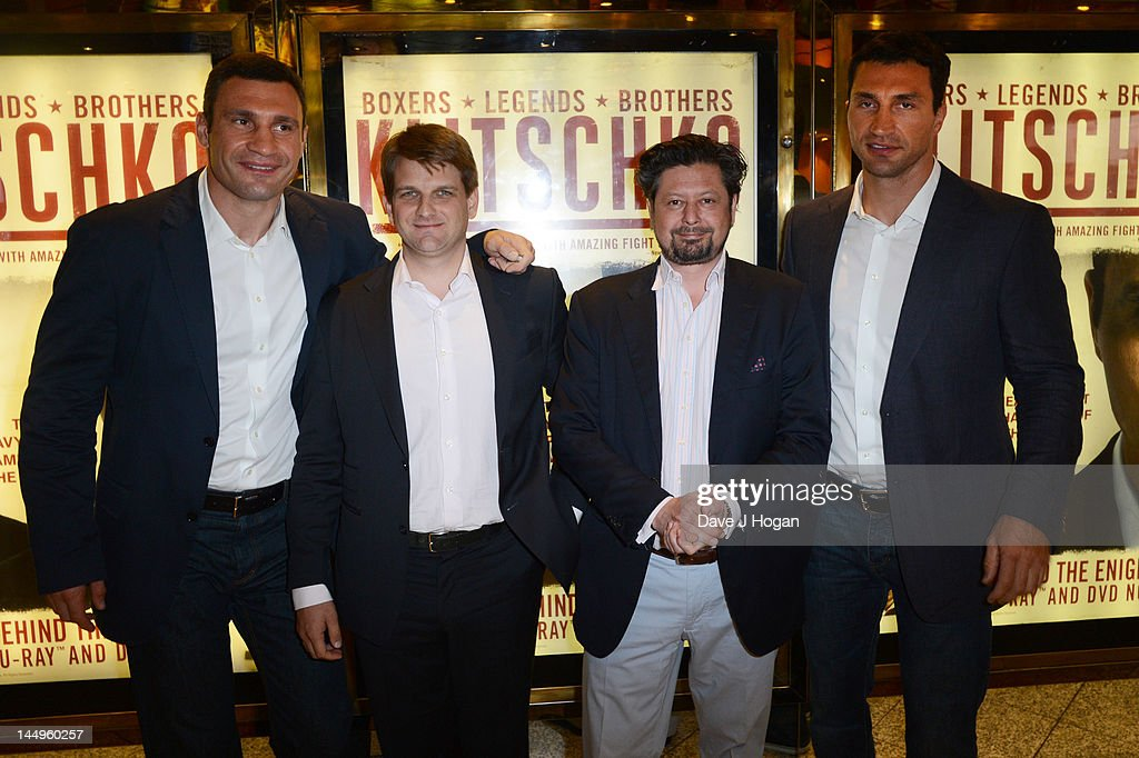 L-R Wladimir Klitschko, Leopold Hoesch, Sebastian Dehnhardt and Vitali Klitschko attend the UK premiere of Klitschko at The Empire Leicester Square on May 21, 2012 in London, England.