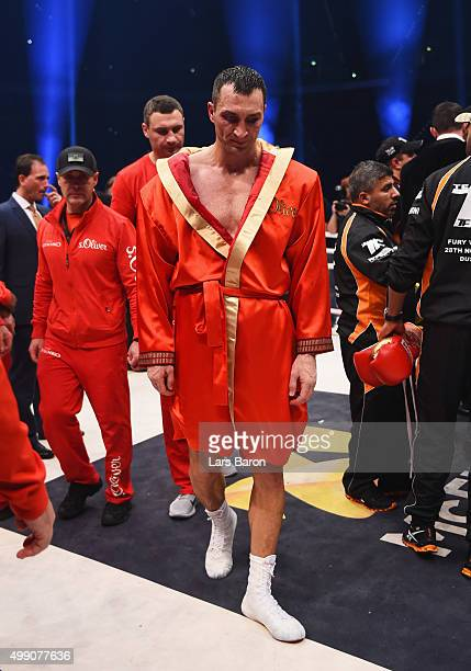Wladimir Klitschko looks dejected in defeat as he loses his World Heavyweight title to Tyson Fury after the IBF IBO WBA WBO Heavyweight World...