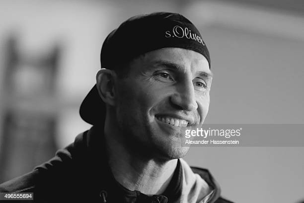 Wladimir Klitschko looks on after a training session at Hotel Stanglwirt on November 10 2015 in Going Austria The Heavyweight title clash between...