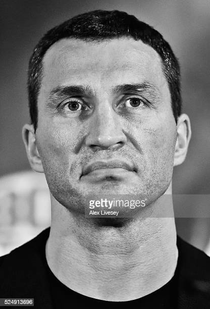 Wladimir Klitschko looks on during a press conference ahead of his fight with Tyson Fury at the Manchester Arena on April 27 2016 in Manchester...