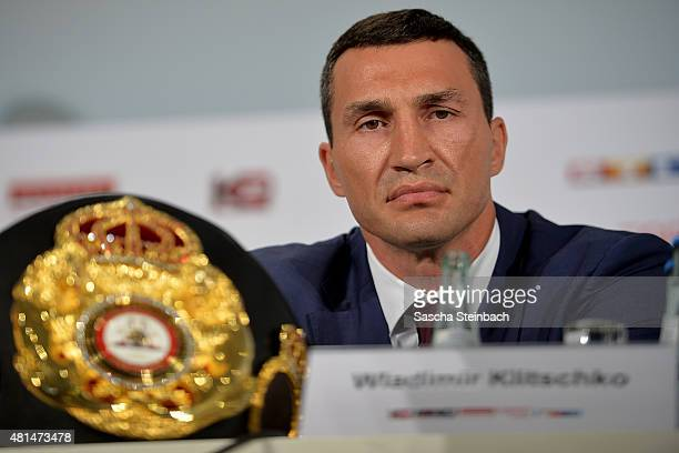 Wladimir Klitschko looks on during a press conference for his fight against Tyson Fury at EspritArena on July 21 2015 in Duesseldorf Germany