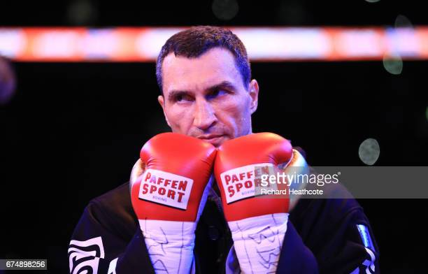 Wladimir Klitschko looks on in the ring prior to his fight against Anthony Joshua for the IBF WBA and IBO Heavyweight World Title bout at Wembley...