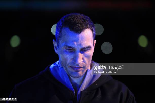 Wladimir Klitschko makes his way to the ring prior to his fight against Anthony Joshua for the IBF WBA and IBO Heavyweight World Title bout at...