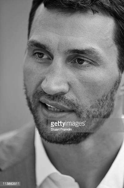 Wladimir Klitschko of Germany during an interview after a press conference with Wladimir Klitschko and David Haye at the Imotech Arena on May 9 2011...