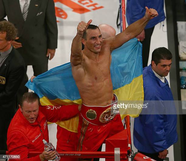 Wladimir Klitschko of the Ukraine celebrates his win over Bryant Jennings during their IBF/WBO/WBA World Heavyweight Championship title fight at...