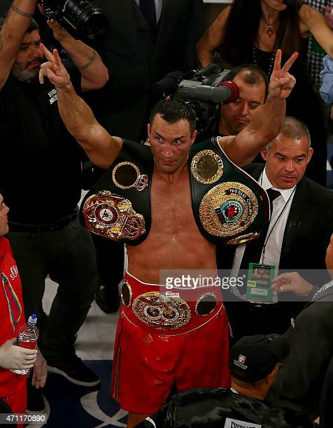 Wladimir Klitschko of the Ukraine celebrates his win over Bryant Jennings after their IBF/WBO/WBA World Heavyweight Championship title fight at...