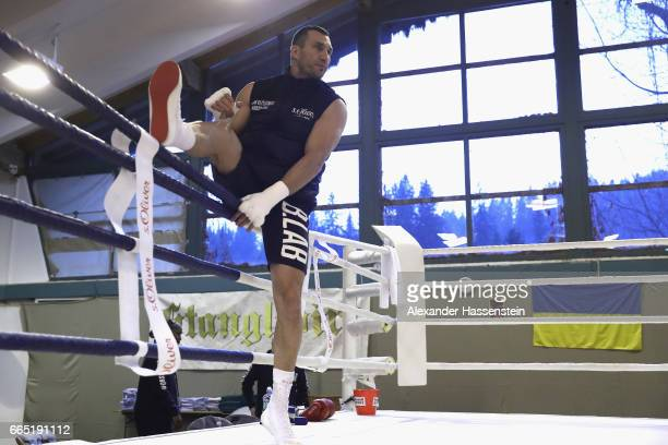 Wladimir Klitschko of Ukraine arrives for a training session at Hotel Stanglwirt on April 6 2017 in Going Austria The Heavyweight title clash between...