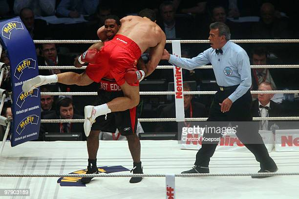 Wladimir Klitschko of Ukraine boxes against Eddie Chambers of USA during their WBO Heavyweight World Championship fight at the Esprit Arena on March...