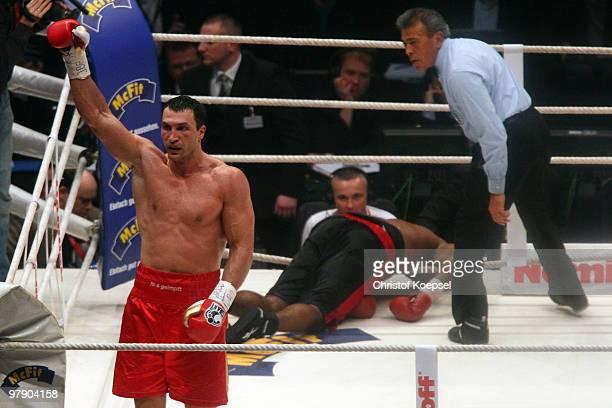 Wladimir Klitschko of Ukraine celebrates after his WBO Heavyweight World Championship fight against Eddie Chambers of USA at the Esprit Arena on...
