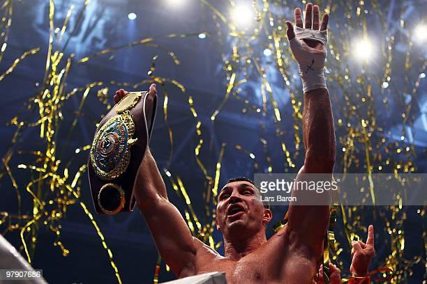 Wladimir Klitschko of Ukraine celebrates after winning his WBO Heavyweight World Championship fight against Eddie Chambers of USA at the Esprit Arena...