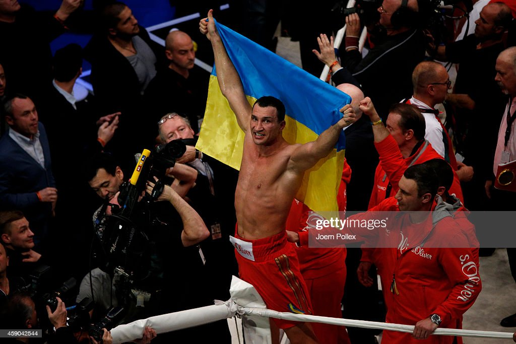 <a gi-track='captionPersonalityLinkClicked' href=/galleries/search?phrase=Wladimir+Klitschko&family=editorial&specificpeople=210650 ng-click='$event.stopPropagation()'>Wladimir Klitschko</a> of Ukraine celebrates after winning the IBF, WBA, WBO and IBO World Championship fight between <a gi-track='captionPersonalityLinkClicked' href=/galleries/search?phrase=Wladimir+Klitschko&family=editorial&specificpeople=210650 ng-click='$event.stopPropagation()'>Wladimir Klitschko</a> and his challenger Kubrat Pulev at O2 World on November 15, 2014 in Hamburg, Germany.