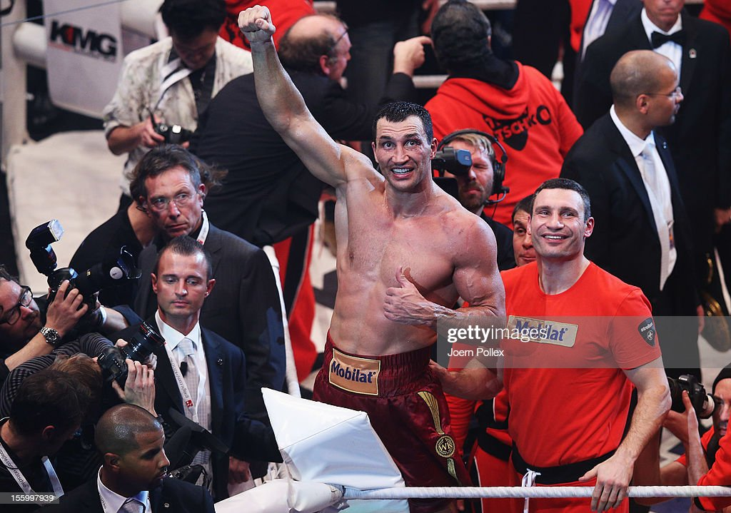 Wladimir Klitschko of Ukraine celebrates after winning the WBA IBF WBO and IBOheavy weight title fight between Wladimir Klitschko of Ukraine and...
