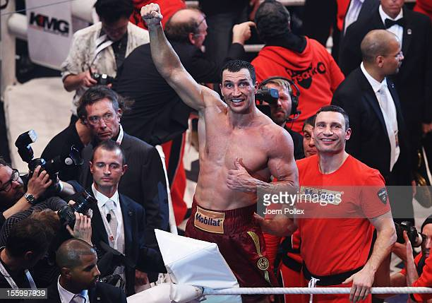 Wladimir Klitschko of Ukraine celebrates after winning the WBA IBF WBO and IBOheavy weight title fight between Wladimir Klitschko of Ukraine and...