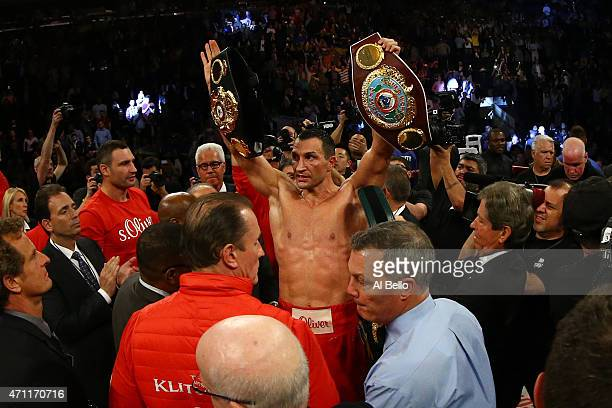 Wladimir Klitschko of Ukraine celebrates defeating Bryant Jennings of the United States in their IBF/WBO/WBA World Heavyweight Championship title...