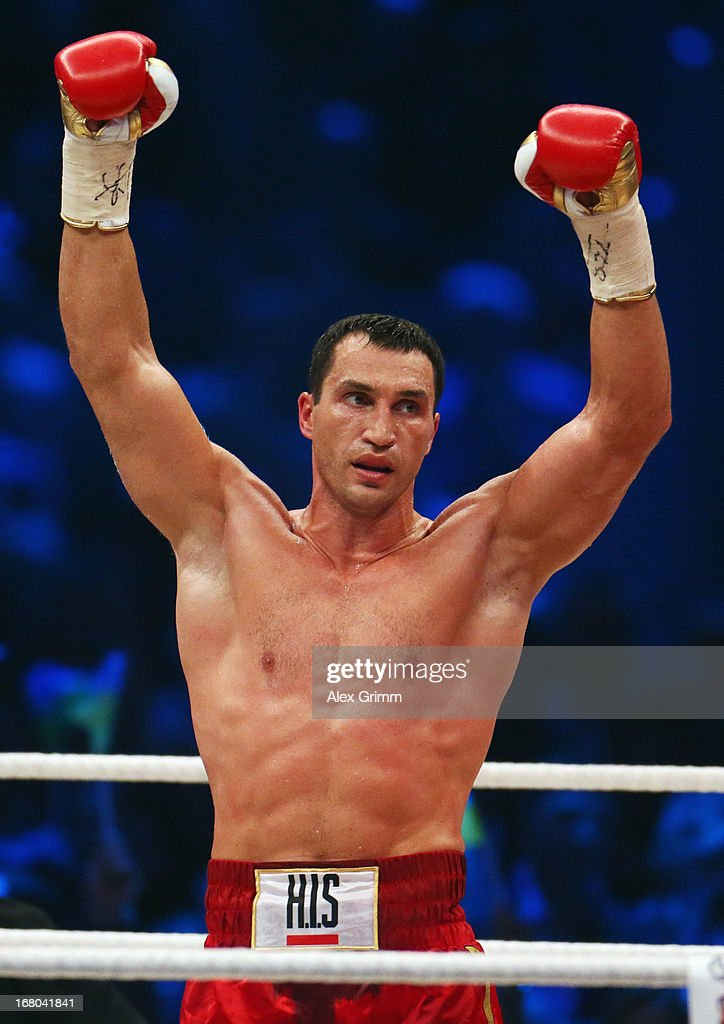<a gi-track='captionPersonalityLinkClicked' href=/galleries/search?phrase=Wladimir+Klitschko&family=editorial&specificpeople=210650 ng-click='$event.stopPropagation()'>Wladimir Klitschko</a> of Ukraine celebrates defeating Francesco Pianeta of Italy and retaining his IBF, IBO, WBA, WBO titles after their World Championship fight at SAP Arena on May 4, 2013 in Mannheim, Germany.