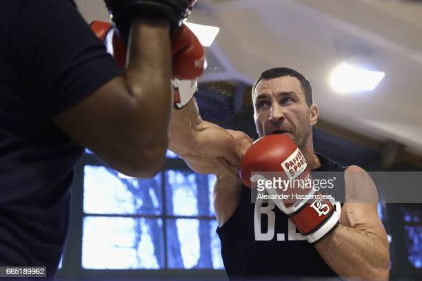 Wladimir Klitschko of Ukraine during a training session at Hotel Stanglwirt on April 6 2017 in Going Austria The Heavyweight title clash between...