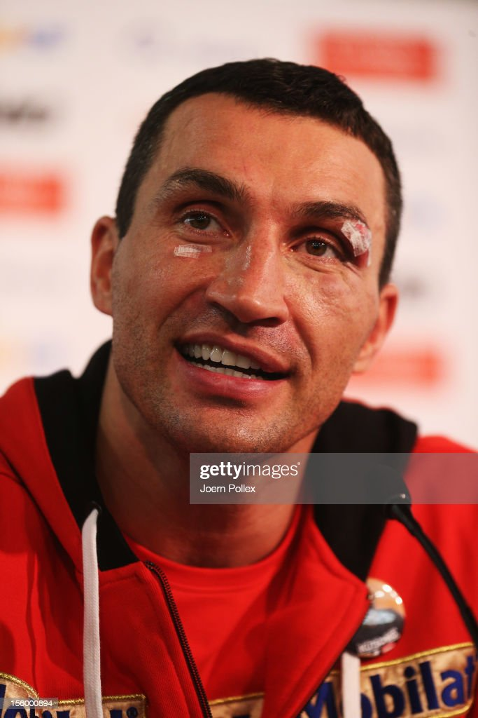 Wladimir Klitschko of Ukraine is seen during the press conference after the WBA IBF WBO and IBOheavy weight title fight between Wladimir Klitschko of...