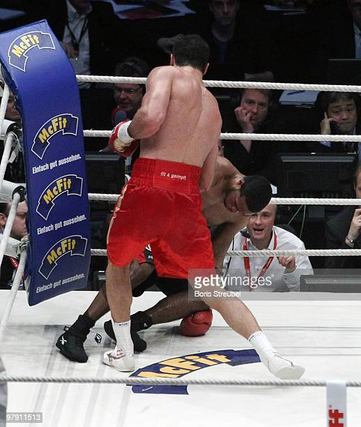 Wladimir Klitschko of Ukraine knocks out Eddie Chambers of USA in the twelfth round of their WBO IBF and IBO Heavyweight World Championship fight at...