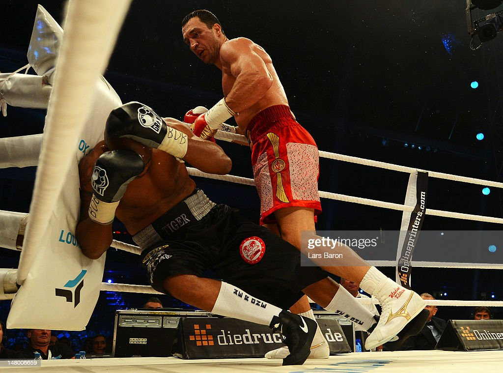 <a gi-track='captionPersonalityLinkClicked' href=/galleries/search?phrase=Wladimir+Klitschko&family=editorial&specificpeople=210650 ng-click='$event.stopPropagation()'>Wladimir Klitschko</a> of Ukraine knocks out <a gi-track='captionPersonalityLinkClicked' href=/galleries/search?phrase=Tony+Thompson&family=editorial&specificpeople=801462 ng-click='$event.stopPropagation()'>Tony Thompson</a> of USA during the WBA-, IBF,- WBO- and IBO-heavy weight title fight between <a gi-track='captionPersonalityLinkClicked' href=/galleries/search?phrase=Wladimir+Klitschko&family=editorial&specificpeople=210650 ng-click='$event.stopPropagation()'>Wladimir Klitschko</a> of Ukraine and <a gi-track='captionPersonalityLinkClicked' href=/galleries/search?phrase=Tony+Thompson&family=editorial&specificpeople=801462 ng-click='$event.stopPropagation()'>Tony Thompson</a> of USA on the July 7, 2012 at Stade de Suisse in Bern, Switzerland.