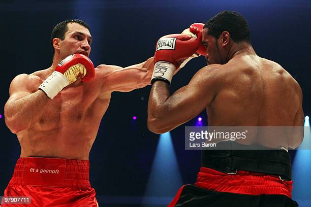 Wladimir Klitschko of Ukraine lands a punch on Eddie Chambers of USA during their WBO Heavyweight World Championship fight at the Esprit Arena on...