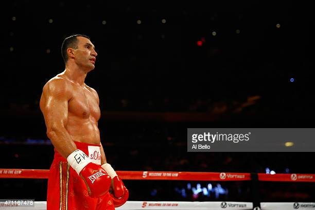 Wladimir Klitschko of Ukraine looks on against Bryant Jennings of the United States during their IBF/WBO/WBA World Heavyweight Championship title...