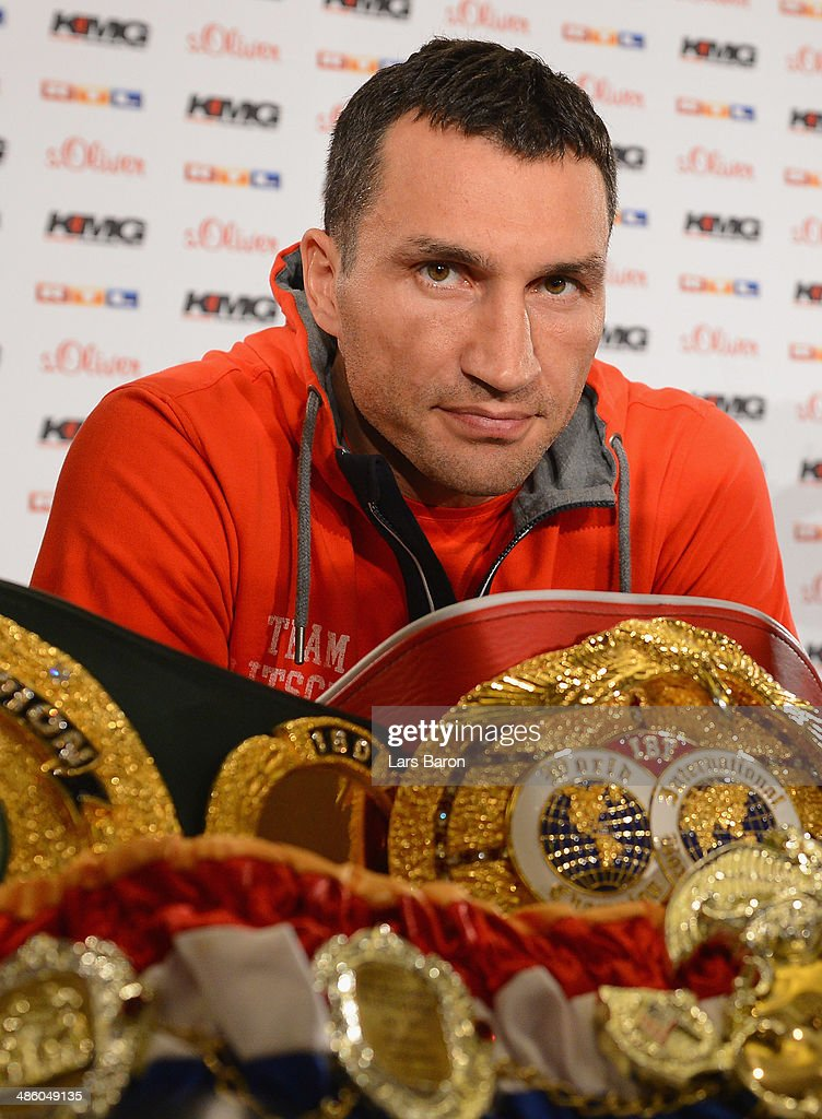 <a gi-track='captionPersonalityLinkClicked' href=/galleries/search?phrase=Wladimir+Klitschko&family=editorial&specificpeople=210650 ng-click='$event.stopPropagation()'>Wladimir Klitschko</a> of Ukraine looks on during a press conference ahead of the upcoming heavyweight boxing title fight between Klitschko and Alex Leapai of Australia at InterContinental Hotel on April 22, 2014 in Dusseldorf, Germany.