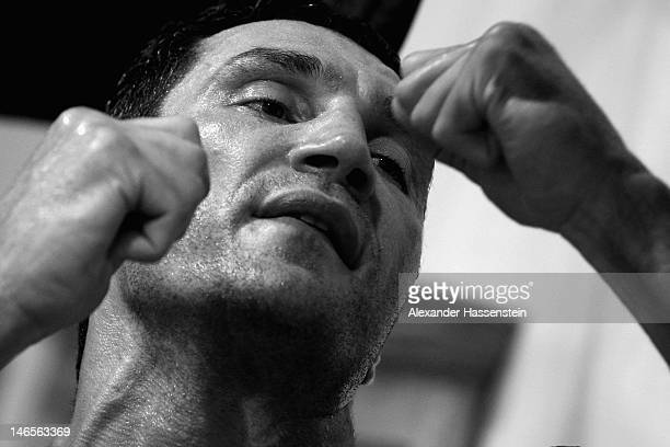Wladimir Klitschko of Ukraine looks on during a training session at Hotel Stanglwirt on June 19 2012 in Going Austria Wladimir Klitschko will defend...