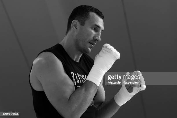 Wladimir Klitschko of Ukraine looks on during a training session at Hotel Stanglwirt on August 19 2014 in Going Austria Wladimir Klitschko will...