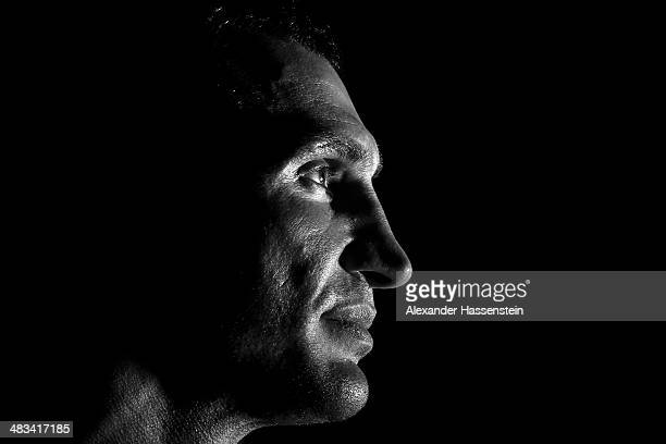 Wladimir Klitschko of Ukraine looks on during a training session at Hotel Stanglwirt on April 8 2014 in Going Austria Wladimir Klitschko will defend...
