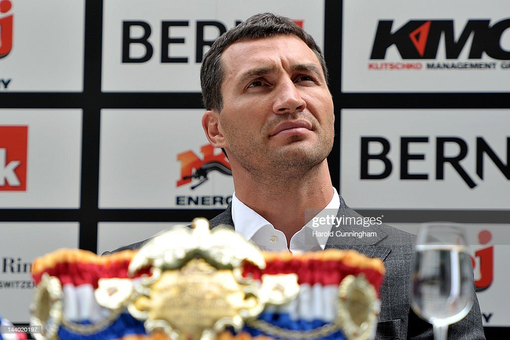 <a gi-track='captionPersonalityLinkClicked' href=/galleries/search?phrase=Wladimir+Klitschko&family=editorial&specificpeople=210650 ng-click='$event.stopPropagation()'>Wladimir Klitschko</a> of Ukraine looks on during the press conference with Tony Thompson of USA (not pictured) at the Nationalstadion on May 8, 2012 in Bern, Switzerland. <a gi-track='captionPersonalityLinkClicked' href=/galleries/search?phrase=Wladimir+Klitschko&family=editorial&specificpeople=210650 ng-click='$event.stopPropagation()'>Wladimir Klitschko</a> will defend his WBA, IBF and WBO heavyweight titles in a rematch against challenger Tony Thompson on July 7 2012, in Bern, Switzerland.