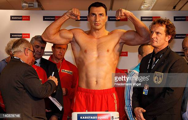Wladimir Klitschko of Ukraine poses during the weigh in for the IBO WBO WBA and IBF heavy weight title fight against JeanMarc Mormeck of France at...
