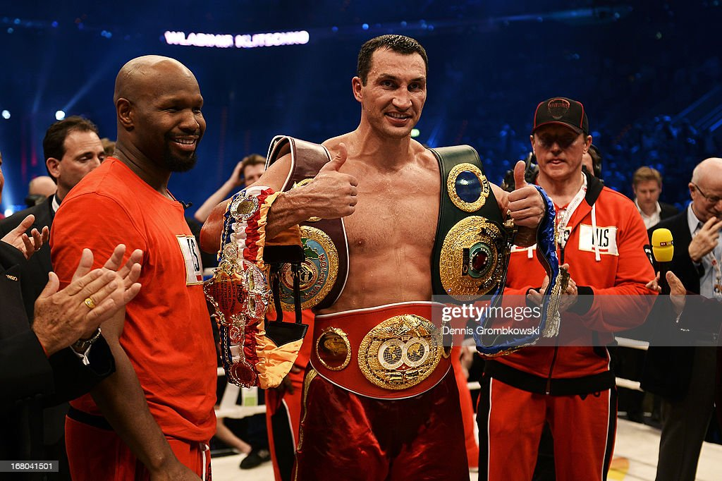 Wladimir Klitschko of Ukraine poses with his belts as he celebrates defeating Francesco Pianeta of Italy and retaining his IBF, IBO, WBA, WBO titles after their World Championship fight at SAP Arena on May 4, 2013 in Mannheim, Germany.