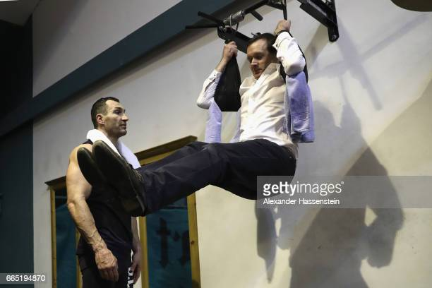 Wladimir Klitschko of Ukraine selected Adam Smith Sky boxing for a training challenge during a training session at Hotel Stanglwirt on April 6 2017...
