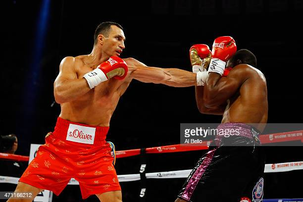 Wladimir Klitschko of Ukraine throws a left to the face of Bryant Jennings of the United States during their IBF/WBO/WBA World Heavyweight...