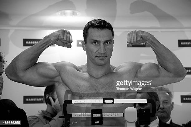 Wladimir Klitschko pose during the official weigh in session ahead of the IBF WBA WBO and IBO World Championship fight between Wladimir Klitschko and...
