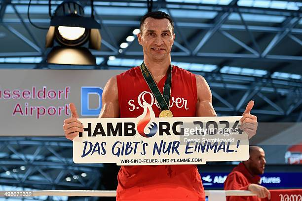 Wladimir Klitschko poses after a Media Training Session at Dusseldorf Airport on November 25 2015 in Duesseldorf Germany Wladimir Klitschko is...