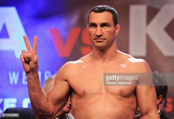 Wladimir Klitschko poses during the weighin prior to the Heavyweight Championship contest against Anthony Joshua at Wembley Arena on April 28 2017 in...