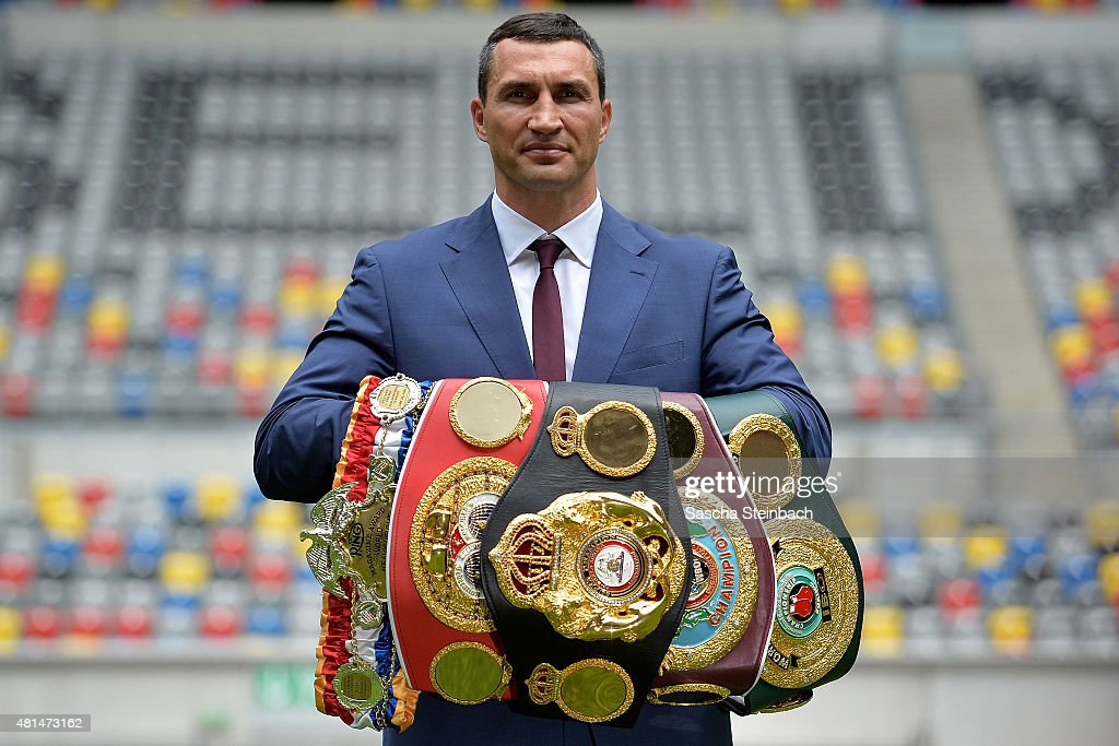<a gi-track='captionPersonalityLinkClicked' href=/galleries/search?phrase=Wladimir+Klitschko&family=editorial&specificpeople=210650 ng-click='$event.stopPropagation()'>Wladimir Klitschko</a> poses on the pitch after a press conference at Esprit-Arena on July 21, 2015 in Duesseldorf, Germany.